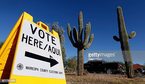 Maricopa County Elections Department sign directs voters to a polling station on November 8 2016 in Cave Creek Arizona Throughout the country...