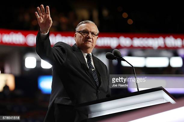 Maricopa County Sheriff Joe Arpaio gestures to the crowd before delivering a speech on the fourth day of the Republican National Convention on July...