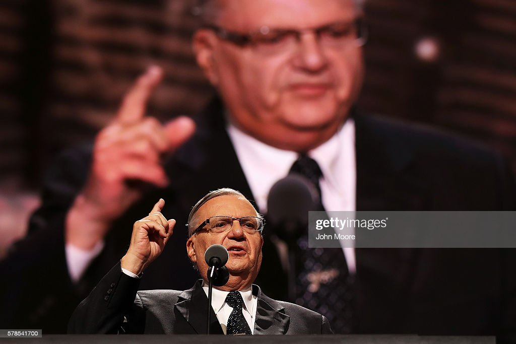Maricopa County Sheriff Joe Arpaio gestures to the crowd while delivering a speech on the fourth day of the Republican National Convention on July 21, 2016 at the Quicken Loans Arena in Cleveland, Ohio. Republican presidential candidate Donald Trump received the number of votes needed to secure the party's nomination. An estimated 50,000 people are expected in Cleveland, including hundreds of protesters and members of the media. The four-day Republican National Convention kicked off on July 18.