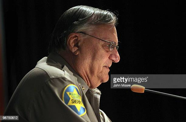 Maricopa County sheriff Joe Arpaio speaks to participants of the Border Security Expo on April 29 2010 in Phoenix Arizona Arpaio promoted by his...
