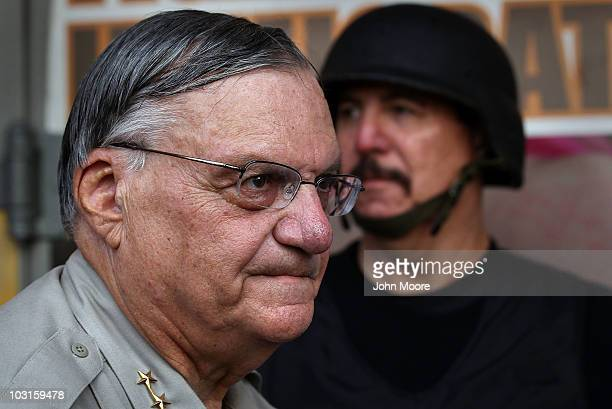 Maricopa County Sheriff Joe Arpaio stands in front of his county jail the day Arizona's immigration enforcement law SB 1070 went into effect on July...