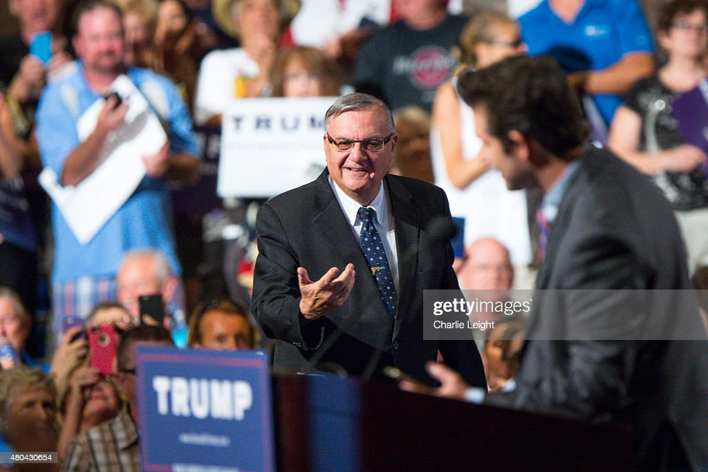 Maricopa County Sheriff Joe Arpaio takes the stage to introduce Republican Presidential candidate Donald Trump at a political rally at the Phoenix Convention Center on July 11, 2015 in Phoenix, Arizona. Trump spoke about illegal immigration and other topics in front of an estimated crowd of 4,200.