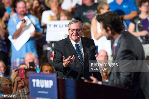 Maricopa County Sheriff Joe Arpaio takes the stage to introduce Republican Presidential candidate Donald Trump at a political rally at the Phoenix...