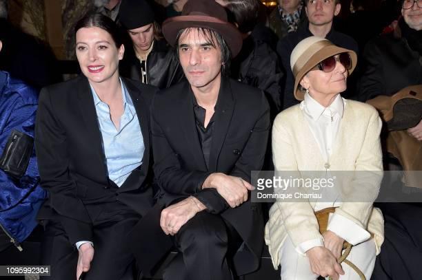 Marie Agnes Gillot, Samuel Benchetrit, Olga Berluti attend the Berluti Menswear Fall/Winter 2019-2020 show as part of Paris Fashion Week on January...