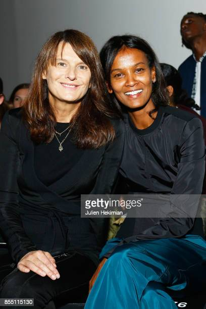 Marie Amelie Sauve and Liya Kebede Kebede attend the Paco Rabanne show as part of the Spring Summer 2018 Womenswear Show at Grand Palais on September...