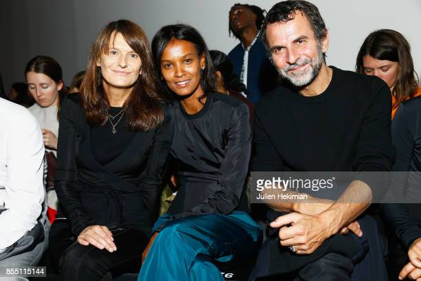 Marie Amelie Sauve Liya Kebede Kebede and Eric Lartigau attend the Paco Rabanne show as part of the Spring Summer 2018 Womenswear Show at Grand...