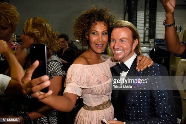 Marie Amiere and Sandro Rath attend the Thomas Rath show during Platform Fashion July 2017 at Areal Boehler on July 23 2017 in Duesseldorf Germany