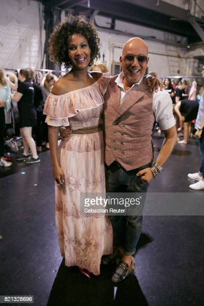 Marie Amiere and Thomas Rath are seen backstage after the Thomas Rath show during Platform Fashion July 2017 at Areal Boehler on July 23 2017 in...