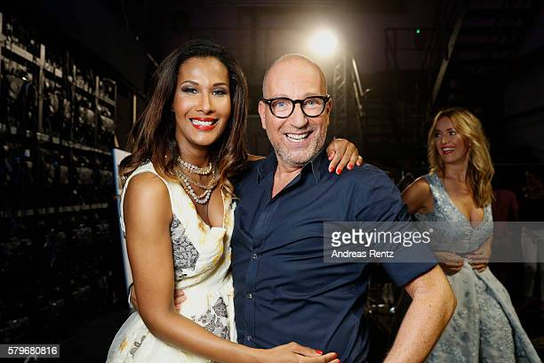 Marie Amiere and Thomas Rath are seen backstage ahead of the Thomas Rath show during Platform Fashion July 2016 at Areal Boehler on July 24 2016 in...
