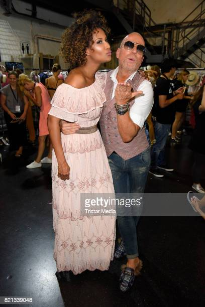 Marie Amiere and Thomas Rath attend the Thomas Rath show during Platform Fashion July 2017 at Areal Boehler on July 23 2017 in Duesseldorf Germany