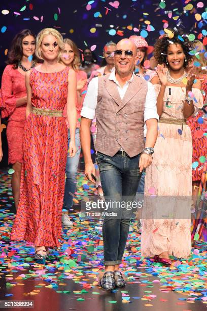 Marie Amiere Thomas Rath and Kim Hnizdo attend the Thomas Rath show during Platform Fashion July 2017 at Areal Boehler on July 23 2017 in Duesseldorf...