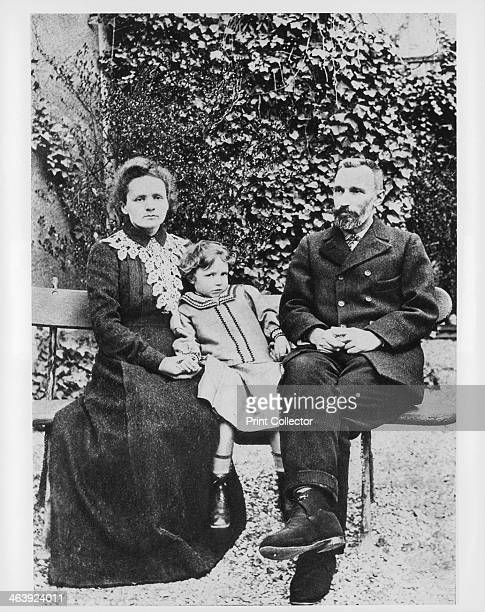 Marie and Pierre Curie physicists 1904 Photograph with their daughter Irene Curie and her husband Pierre continued the work on radioactivity started...