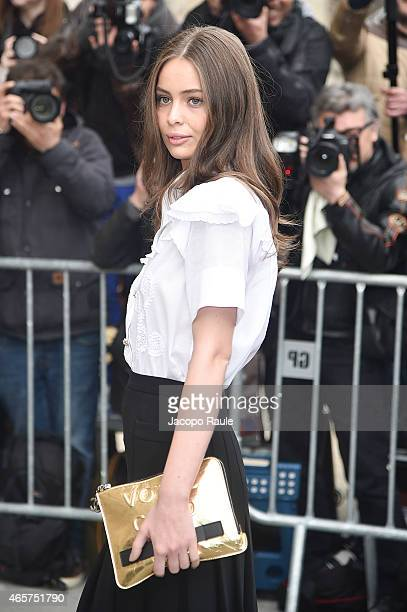 Marie Ange Casta arrives at Chanel Fashion Show during Paris Fashion Week Fall Winter 2015/2016 on March 10 2015 in Paris France