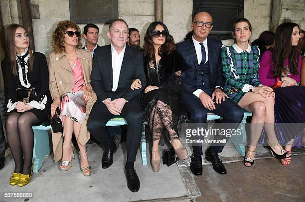 Marie Ange Casta Valeria Golino FrancoisHenri Pinault Salma Hayek Marco Bizzarri Gucci CEO Charlotte Casiraghi and Tatiana Casiraghi attend the Gucci...