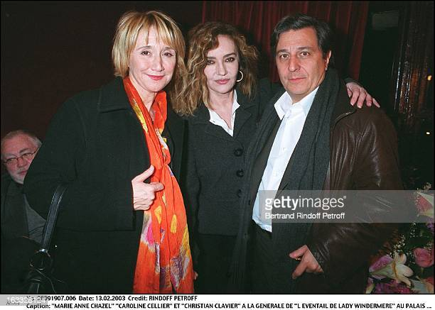 Marie Anne Chazel Caroline Cellier and Christian Clavier Preview of the play The Fan of Lady Windemere at the Royal Palace couple