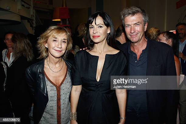 Marie Anne Chazel Mathilda May and Philippe Caroit attend 'Open Space' Premiere At Theatre du Rond Point on September 10 2014 in Paris France