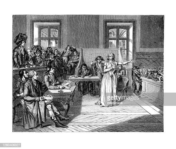 marie antoinette before the french revolutionary tribunal, 1793 - old engraved illustration - execution stock pictures, royalty-free photos & images