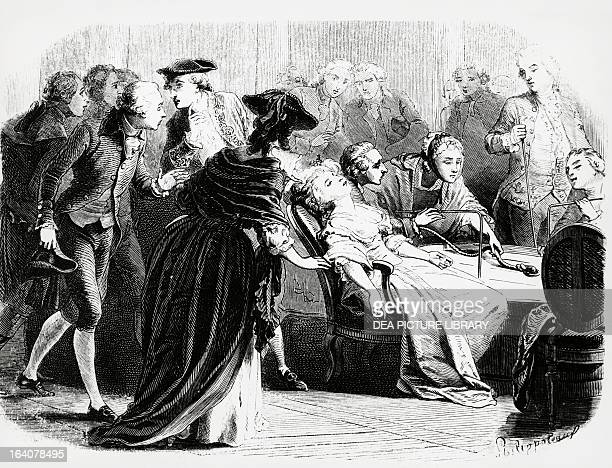 Marie Antoinette being submitted to the 'tub' by Franz Anton Mesmer Engraving taken from by Le collier de la Reine by Alexandre Dumas 1856