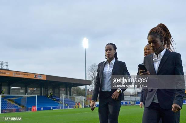 Marie Antoinette Katoto and Aminata Diallo of Paris SaintGermain arrive on the pitch before the UEFA Women's Champions League Quarter Final First Leg...