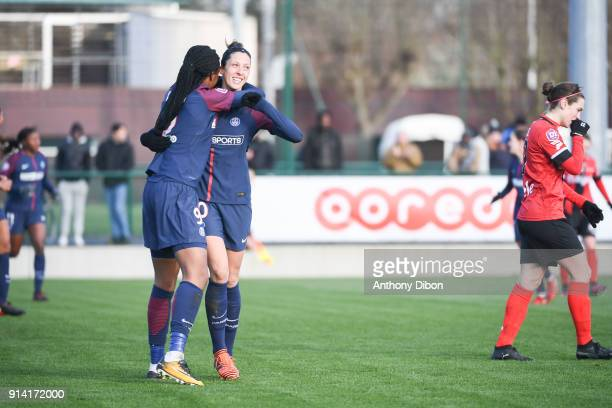 MArie Antoinette Katoto and Jennifer Hermoso Fuentes of PSG celebrates a goal during the Womens Division 1 match between Paris Saint Germain PSG and...
