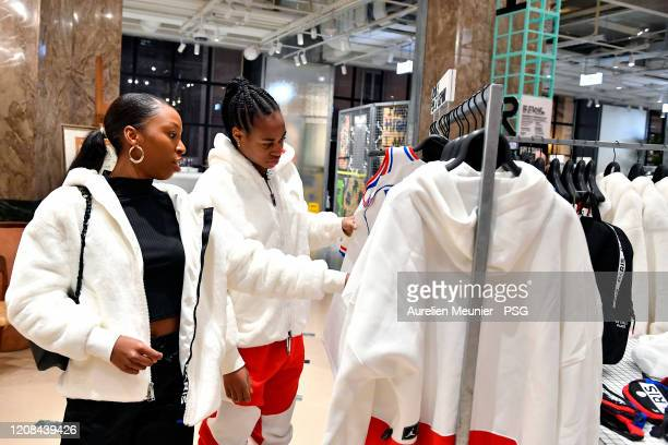 Marie Antoinette Katoto and Marie Antoinette Katoto of Paris SaintGermain Women attend the release of the new Jordan Women's collection at Galeries...