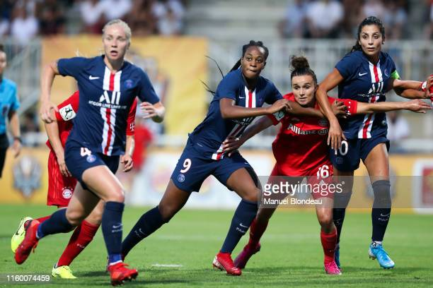 Marie Antoinette Katoto and Nadia Nadim of Paris SG and Lina Magull of Bayern Munich during the Women's French Cup match between Paris Saint Germain...