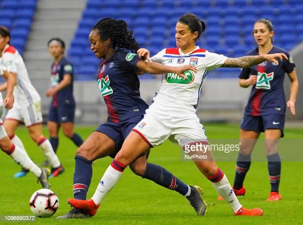 Marie Antoinette Katoto of Paris Saint-Germain defending against Dszenifer Marozsan of Olympique Lyonnais during the Coupe de France Fminine...