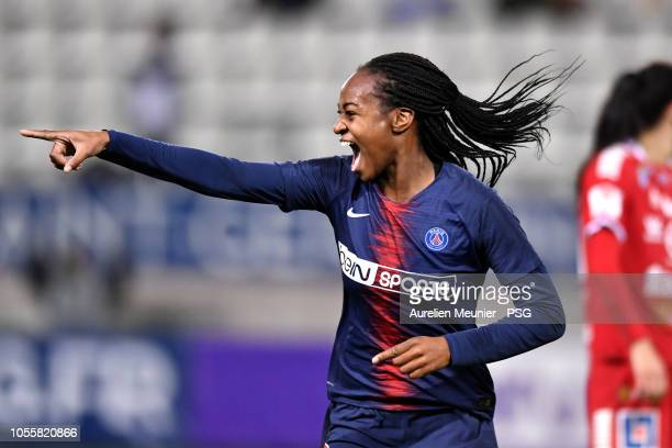 Marie Antoinette Katoto of Paris SaintGermain reacts after scoring during the UEFA Women's Champions League match between Paris Saint Germain and...