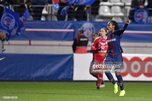Marie Antoinette Katoto of Paris SaintGermain reacts during the UEFA Women's Champions League match between Paris Saint Germain and Linkopings FC at...
