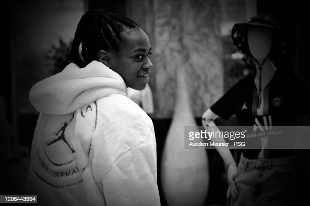 Marie Antoinette Katoto of Paris SaintGermain Women attends the release of the new Jordan Women's collection at Galeries Lafayette on February 24...