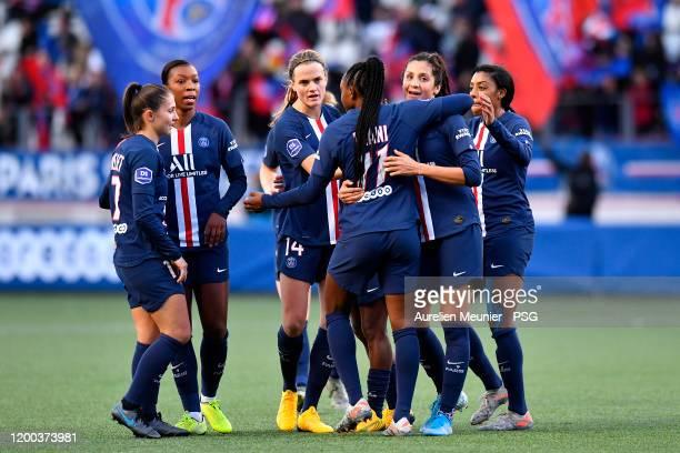 Marie Antoinette Katoto of Paris Saint-Germain Women congratulates Nadia Nadim after she scored during the Division 1 Arkema Feminine match between...
