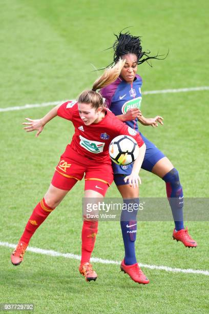 Marie Antoinette Katoto of PSG and Anne Sophie Ginestet of Rodez during the Women's National Cup match between Paris Saint Germain and Rodez on March...