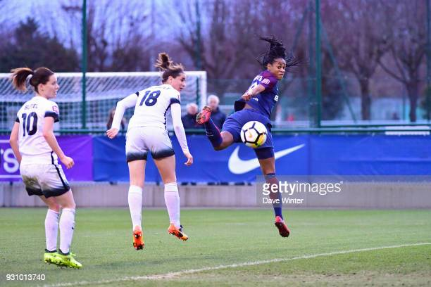 Marie Antoinette Katoto of PSG and Charlotte Bilbault of Paris FC during the Women's Division 1 match between Paris Saint Germain and Paris FC on...