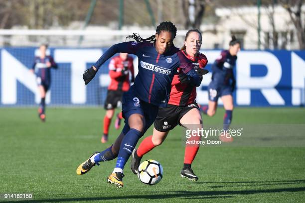 Marie Antoinette Katoto of PSG and Charlotte Lorgere of Guingamp during the Womens Division 1 match between Paris Saint Germain PSG and Guingamp on...