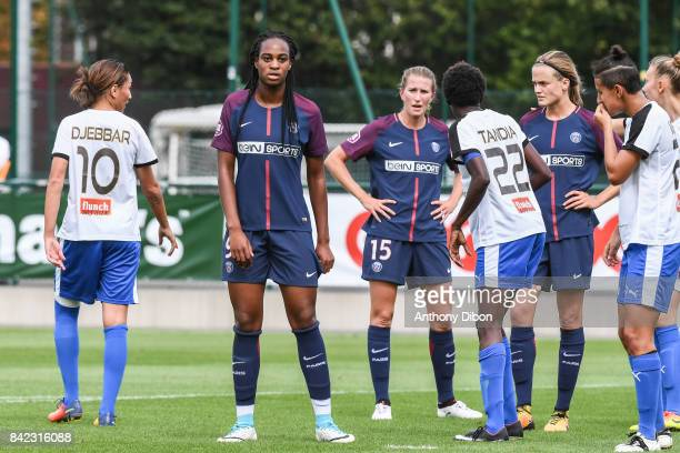 Marie Antoinette Katoto of PSG and Emma Berglund during women's Division 1 match between Paris Saint Germain PSG and Soyaux on September 3 2017 in...