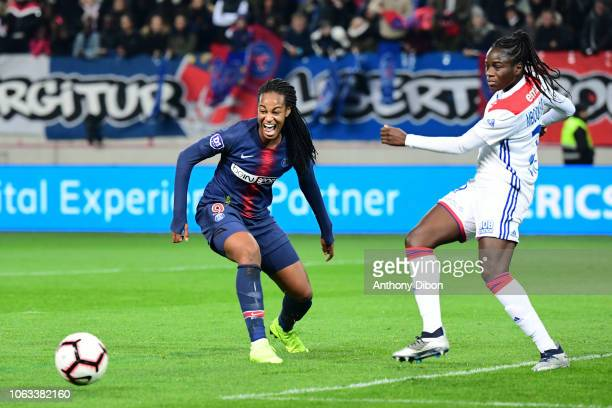 Marie Antoinette Katoto of PSG and Griedge Mbock Bathy of Lyon during the Women's Division 1 match between Paris Saint Germain and Olympique Lyonnais...