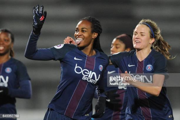 Marie Antoinette Katoto of PSG and Irene Paredes of PSG celebrate during the French Women's Division 1 match between Juvisy and Paris Saint Germain...