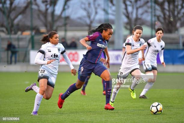 Marie Antoinette Katoto of PSG bears down on goal during the Women's Division 1 match between Paris Saint Germain and Paris FC on March 12 2018 in...