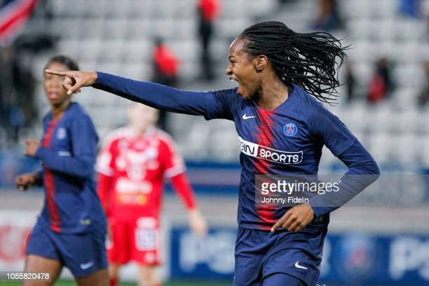 Marie Antoinette Katoto of PSG celebrate his goal during the UEFA Women's Champions League match between Paris Saint Germain and Linkopings FC at...