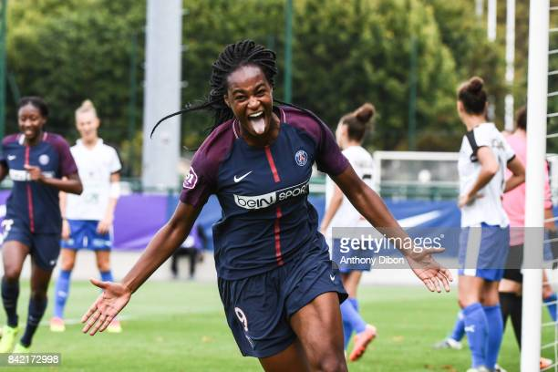 Marie Antoinette Katoto of PSG celebrates a goal during women's Division 1 match between Paris Saint Germain PSG and Soyaux on September 3 2017 in...