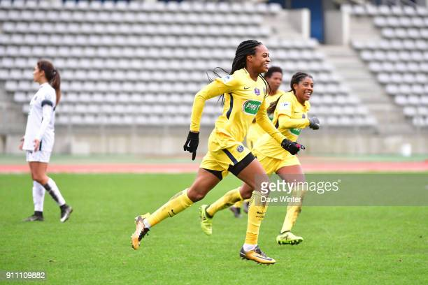 Marie Antoinette Katoto of PSG celebrates after putting her side 20 ahead during the Women's National Cup match between Paris FC and Paris Saint...
