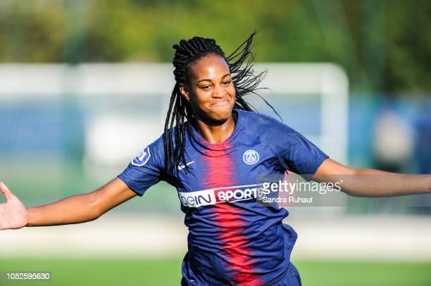 Marie Antoinette Katoto of Psg celebrates her goal during the Women's Division 1 match between Paris Saint Germain and Dijon at Camp des Loges on...
