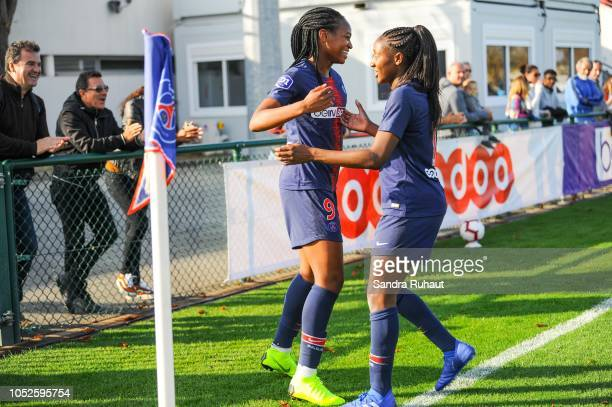 Marie Antoinette Katoto of Psg celebrates her goal with Kadidiatou Diana of Psg during the Women's Division 1 match between Paris Saint Germain and...