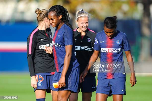 Marie Antoinette Katoto of Psg celebrates the victory with teammates after the Women's Division 1 match between Paris Saint Germain and Dijon at Camp...