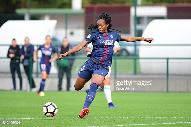 Marie Antoinette Katoto of PSG during the women's French D1 league match between PSG and Olympique de Marseille at Camp des Loges on September 25...