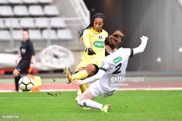 Marie Antoinette Katoto of PSG puts her side 20 ahead during the Women's National Cup match between Paris FC and Paris Saint Germain at Stade...