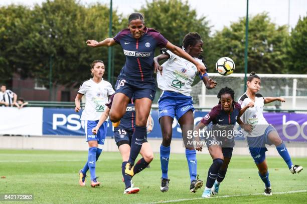 Marie Antoinette Katoto of PSG scores a goal during women's Division 1 match between Paris Saint Germain PSG and Soyaux on September 3 2017 in Paris...