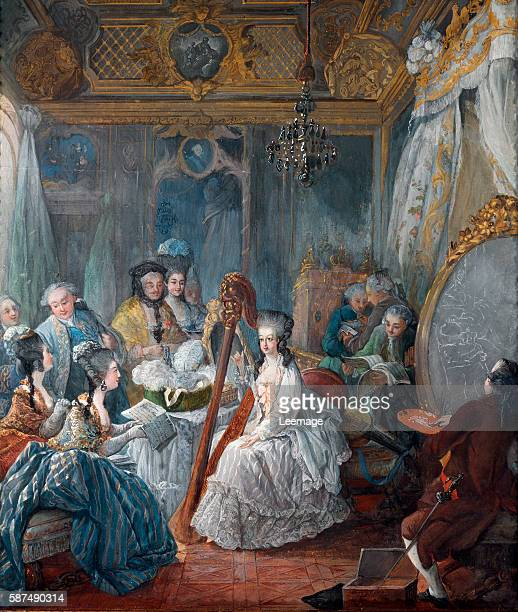 Marie Antoinette Sitting for a Portrait in Her Bedroom at Versailles 1777 by JacquesFabien Gautier d'Agoty Chateau de Versailles France