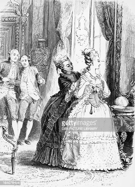 Marie Antoinette wearing the necklace episode The Case of the Queen's Necklace illustration taken from Le collier de la Reine by Alexandre Dumas 1856...