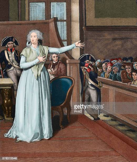 Marie Antoinette wife of Louis XVI and Queen of France before the court Engraving Colored